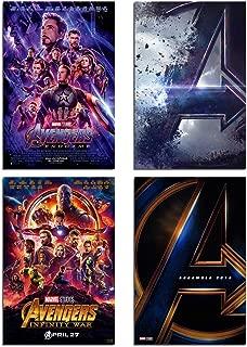 Marvel Avengers Wall Art Poster - Canvas Wall Decoration Superhero Print of Avengers Endgame Pictures/The Infinite War Movie /Manrvel Logo Sign Painting /4 Set Unframed 8x10 Inch for Boy Room Decor