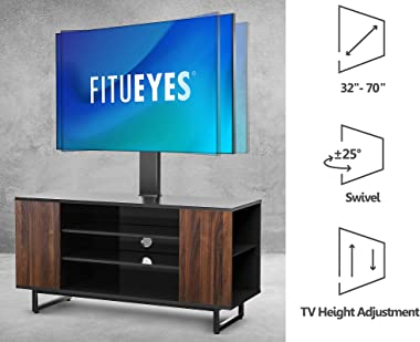 FITUEYES Swivel Floor TV Stand for 32-70 inch TVs, Universal Corner Entertainment Center TV Mount Stand with Storage for Medi