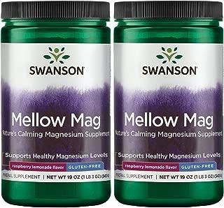 Swanson Mellow Magnesium Drink Combat Stress Support Mood Bone Muscle Nervous System Health Supplement Vegan Non-GMO Sugar Free Magnesium Carbonate 330 mg Powder Raspberry Lemonade