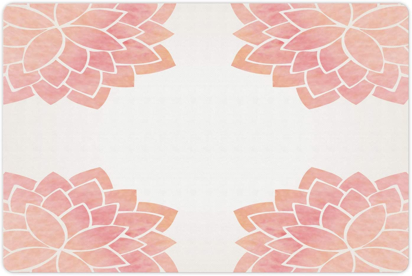 Lunarable Mail order Floral Pet Mat for Food Petals and L Portland Mall Water Watercolor