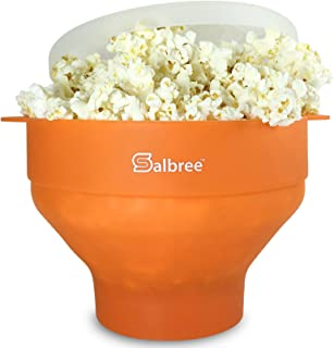 Original Salbree Microwave Popcorn Popper, Silicone Popcorn Maker, Collapsible Bowl BPA Free - 18 Colors Available (Orange)