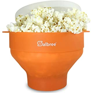 Original Salbree Microwave Popcorn Popper, Silicone Popcorn Maker, Collapsible Bowl - The Most Colors Available (Orange)