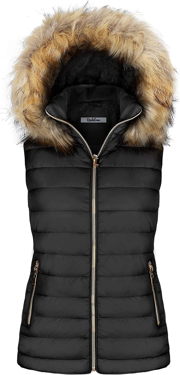 2LUV Women's Quilted Flax Fur Hooded Vest Padded Fleece Jacket with Zip Closure