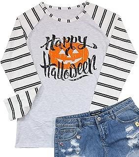 Happy Halloween Pumpkin Baseball T-Shirt Women's Raglan Long Sleeve Top Stripe Splicing Tees