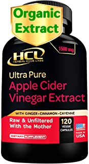 Organic Apple Cider Vinegar Capsules 1500 mg Extract with Mother - Extra Strength Raw Apple Cider Pills wit...