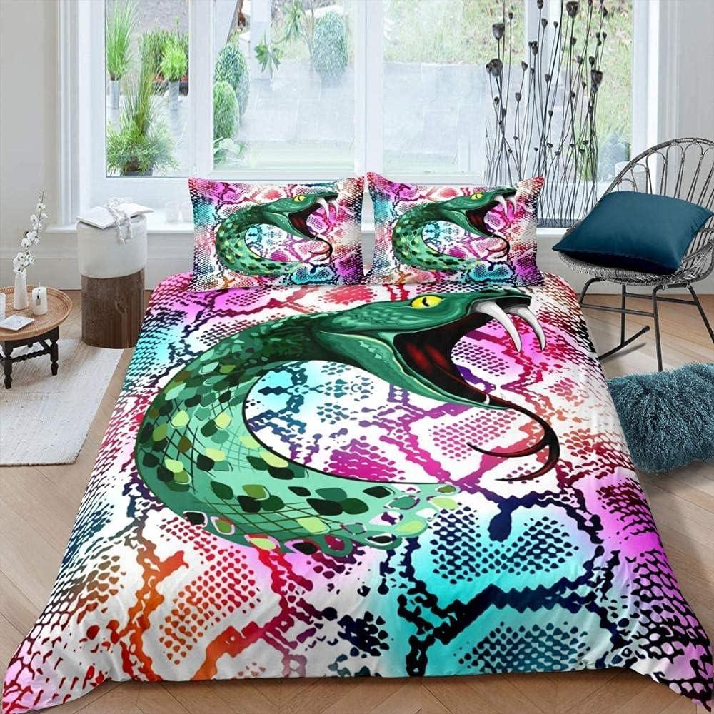 Soldering Snake Duvet specialty shop Cover for Boys 3D Sn King Set Animal Comforter Print