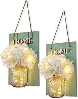 HABOM Mason Jar Sconce Home Wall Decor, Rustic Hanging Jar Sconce with LED Fairy Lights and Silk Hydrangea Flowers Farmhouse Wall Decoration (Set of 2)