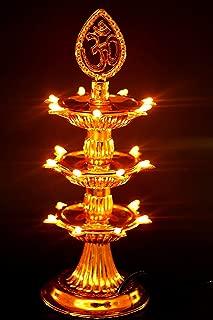 casemantra 3 Layer Electric Gold LED Bulb Lights Diya/Deep/Deepak for Pooja/Puja/Mandir Diwali Festival Decoration