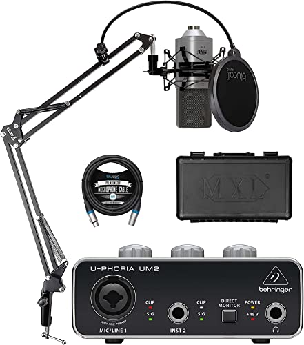 MXL 770 Cardioid Condenser Microphone (Silver) Bundle with Behringer U-PHORIA UM2 USB Audio Interface for Windows and Mac, Blucoil Boom Arm Plus Pop Filter, and 10-FT Balanced XLR Cable