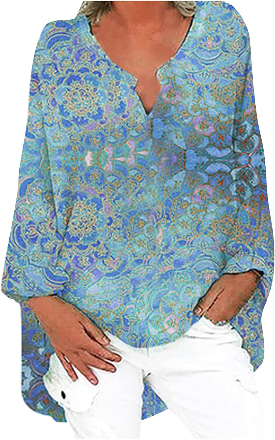 Linen Cotton T-Shirt Tops for Women Pattern Printed Fashion Trendy Loose Fit Long Sleeve Retro V-Neck Blouses Tees