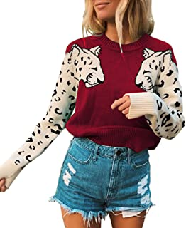 Women's Sweaters Casual Leopard Printed Patchwork Long Sleeves Knitted Pullover Cropped Sweater Tops