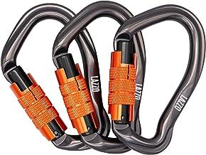LAZZO 3 Pack Twist Lock Climbing Climb Carabiner Clips، Lock Lock اتومبیل و وظیفه سنگین ، ایده آل برای صعود و صعود ، شلاق سگ Carabiner ، D شکل 4.21 اینچ ، اندازه بزرگ