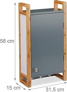 Relaxdays Hängeschrank Bad, Wandschrank mit Bambusrahmen und 3 Haken, Badhängeschrank HBT 58 x 31,5 x 15 cm, dunkelgrau