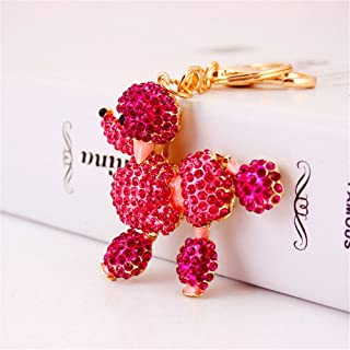 Cute Poodle Sparkling Charm Blingbling Dog Keychain Crystal Rhinestone Pendant (Red)