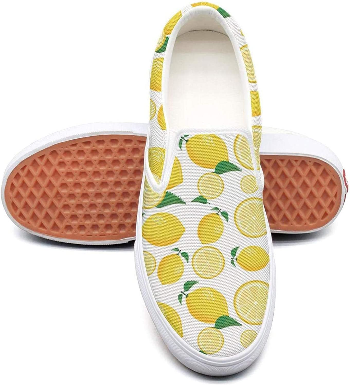 Lalige Lemon with Lemon Slice Pattern Women Funny Canvas Slip-ONS Walking shoes