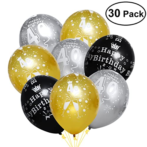 Unomor 40th Birthday Decorations With Balloons In Black Silver And Gold For