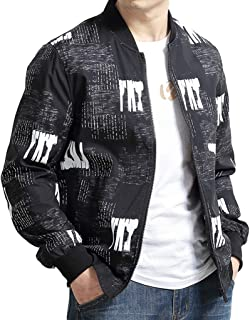 Men's Jacket Student Spring and Autumn Large Size Print Letter Zipper Casual Business Stand Collar Top