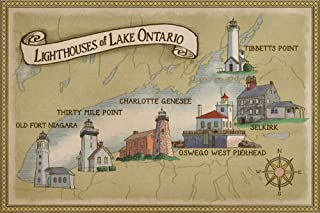 Lighthouses of Lake Ontario (16x24 Fine Art Giclee Gallery Print, Home Wall Decor Artwork Poster)