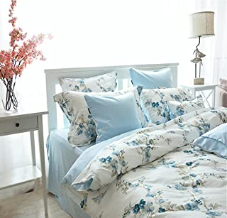 Garden Chinoiserie Floral Duvet Quilt Cover Asian Porcelain Style Tree Blossom and Birds Blue and White Watercolor Pattern 300tc Cotton Percale 3pc Bedding Set (King, Blue)