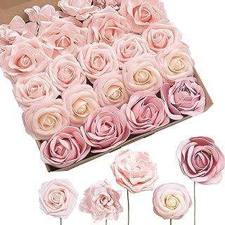 Ling's moment Artificial Flowers Blush Foam Roses Peonies Avalanche Roses Gardenia Flowers Combo Box Set for Wedding Bouquet Centerpieces Flower Arrangements Decorations