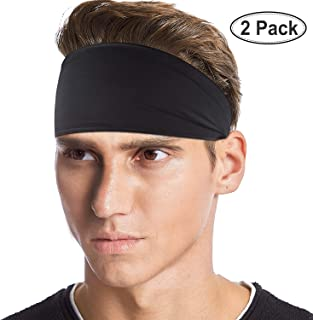 SUHINFE Mens Running Headbands, Moisture Wicking Head Sweatbands for Sports, Cycling, Yoga, Football, Basketball and Exercise, Black, 2 Pack