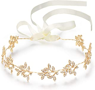 BABEYOND Crystal Bridal Headband Headpiece Wedding Headpiece for Bride Wedding Bridal Hair Accessories with Ivory Satin Ribbon (Style-2-Gold)