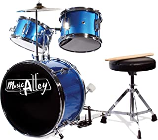 Music Alley DBJK02-MR Three Piece Junior Drum Kit for Kids with Cymbal Pedal Drum Stool and Drum Sticks Metallic Blue