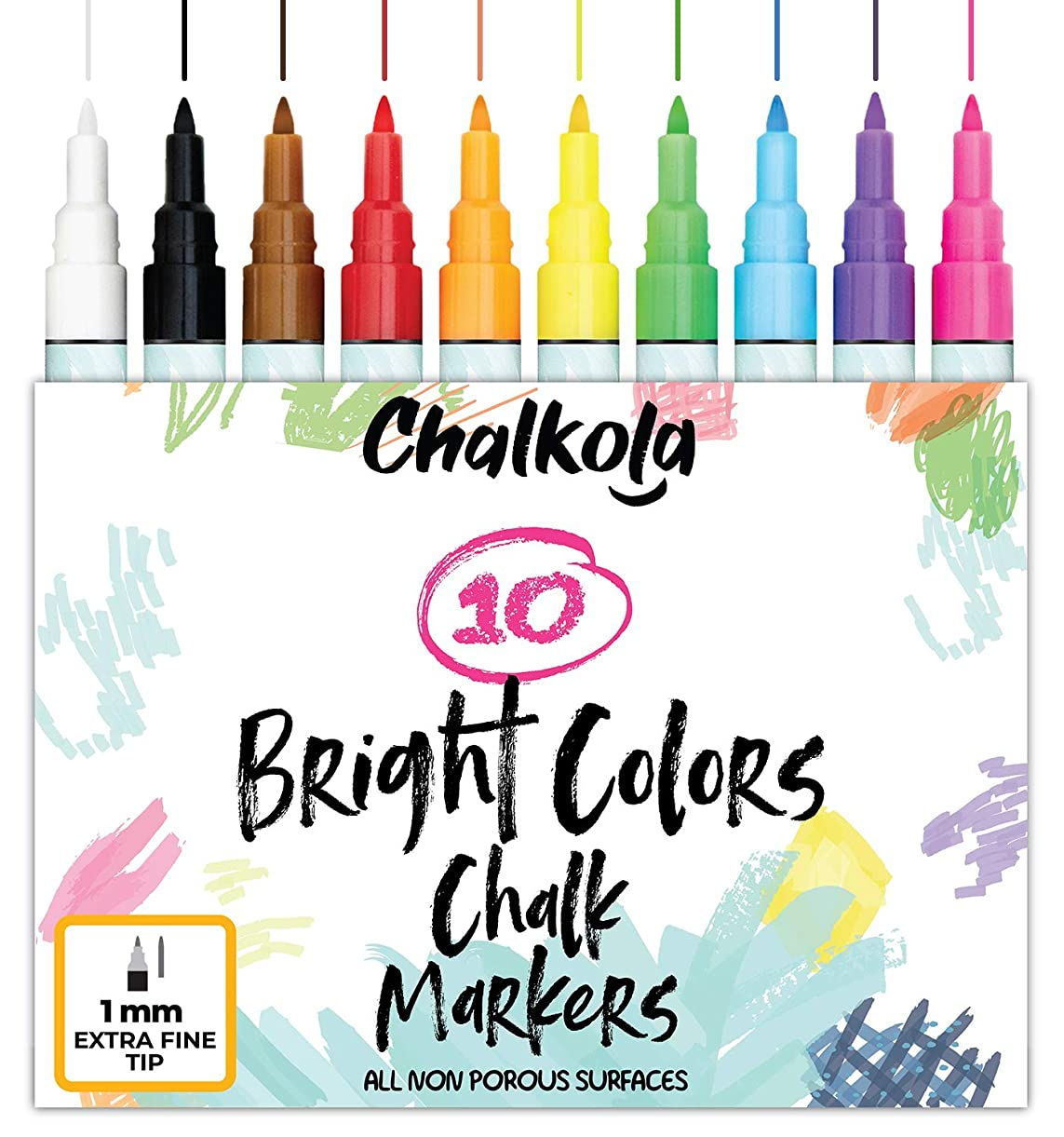 1mm Extra Fine Tip Chalk Markers - Pack of 10 neon Color pens | Non-Toxic, Wet Wipe | For Chalkboard, Window, Blackboards, Glass uohzf7184