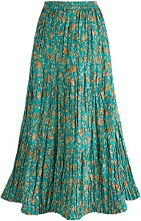 Women's Long Reversible Peasant Skirt - Boho Floral Green/Gold Cotton Maxi Skirt