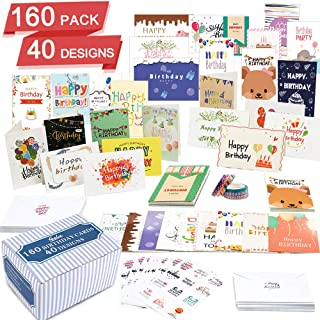 $22 » Birthday Card, 160 Pack 40 Designs Happy Birthday Card Assorted Bulk with 160 Blank Envelopes 14 Pieces of Sticker Sheets 6 Washi Tapes, Feela 4 X 6 Inches Greeting Cards For Family Friends Coworkers