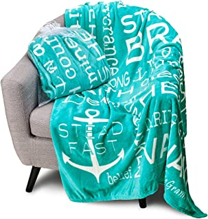 Blankiegram Bravery Inspirational Throw Blanket for Strength, Encouragement & Perseverance | The Perfect Caring Gift (Teal)