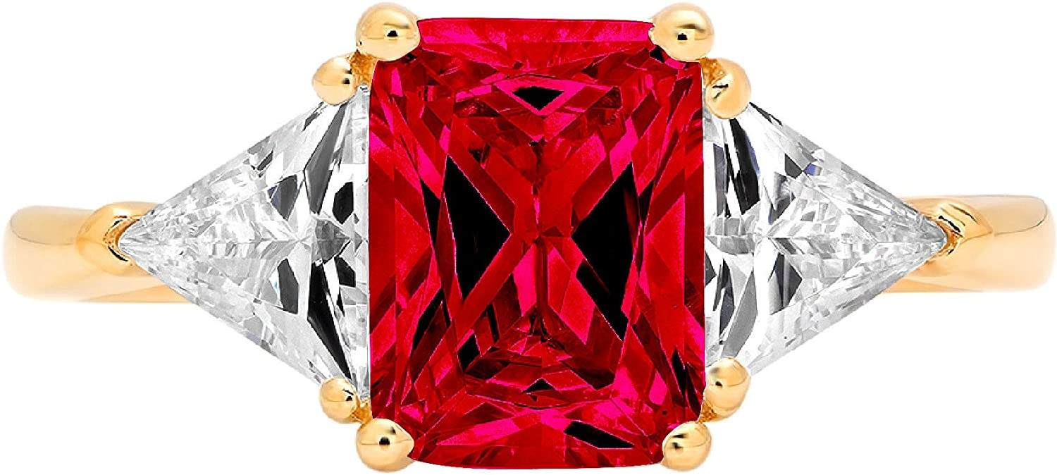 3.05 ct Emerald Trillion cut 3 stone Solitaire with Accent Stunning Genuine Flawless Simulated Pink Tourmaline Modern Promise Statement Designer Ring 14k Yellow Gold