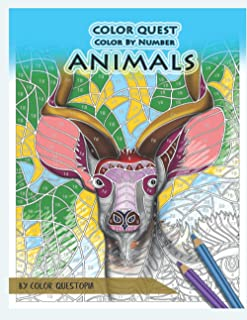 Color Quest Color by Number Animals: Jumbo Adult Coloring Book for Stress Relief