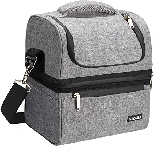 Secura Large Insulated Lunch Bag Double Deck Cooler Lunch box w/Shoulder Strap for Women Men Adult (Grey)