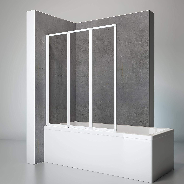 Schulte D1300 04 50 Duschwand Well, 127 x 140 cm, 3-teilig faltbar, 3 mm Sicherheitsglas Klar hell, apin-wei, Duschabtrennung für Wanne