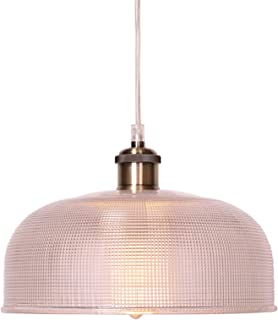 CO-Z 10.5 Inch Wide Industrial Hanging Pendant Ceiling Light with Textured Glass Shade, Antique Brass & Brushed Nickel Dimmable Lamp for Kitchen Island, Dining Room, Hallway, or Bedroom, UL-Listed