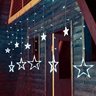 pop-belief Star Curtain Lights, 138 LED 12 Stars Window Curtain String Lights Plug Operated with 8 Flashing Modes Decoration Lights for Christmas, Wedding, Party, Birthday, Home, Patio Lawn (White)
