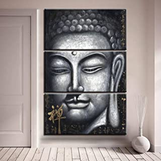 jjshily Pinturas En Lienzo para La Sala De Estar Arte De La Pared Impresiones En HD 3 Piezas Gris Zen Buda Posters Imágenes Abstractas Budistas Decoración para El Hogar, 60X80