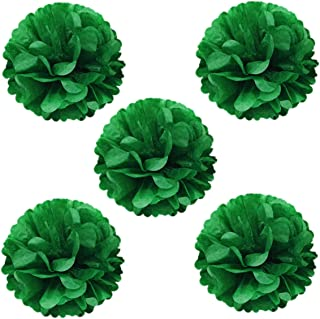 Wrapables Tissue Pom Poms Party Decorations for Weddings, Birthday Parties, Baby Showers and Nursery Decor, Kelly Green, 8-Inch, Set of 5