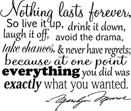 Nothing Lasts Forever. Marilyn Monroe Quote Vinyl Wall Decal Sticker Art