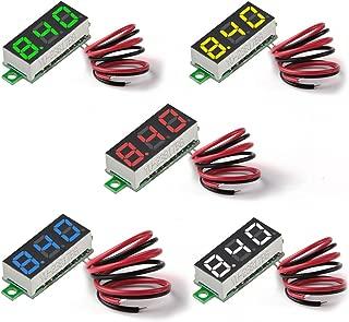 MakerFocus 5pcs Mini Digital DC Voltmeter 0.28 Inch Two-Wire 2.5V-30V Mini Digital DC Voltmeter Voltage Tester Meter 5 Colours