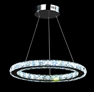 Ganeed Crystal Chandeliers,Modern LED Ceiling Fixtures Pendant Lighting Dining Room Contemporary Adjustable Stainless Steel Oval One Ring Chandelier(Cool White/6500K)