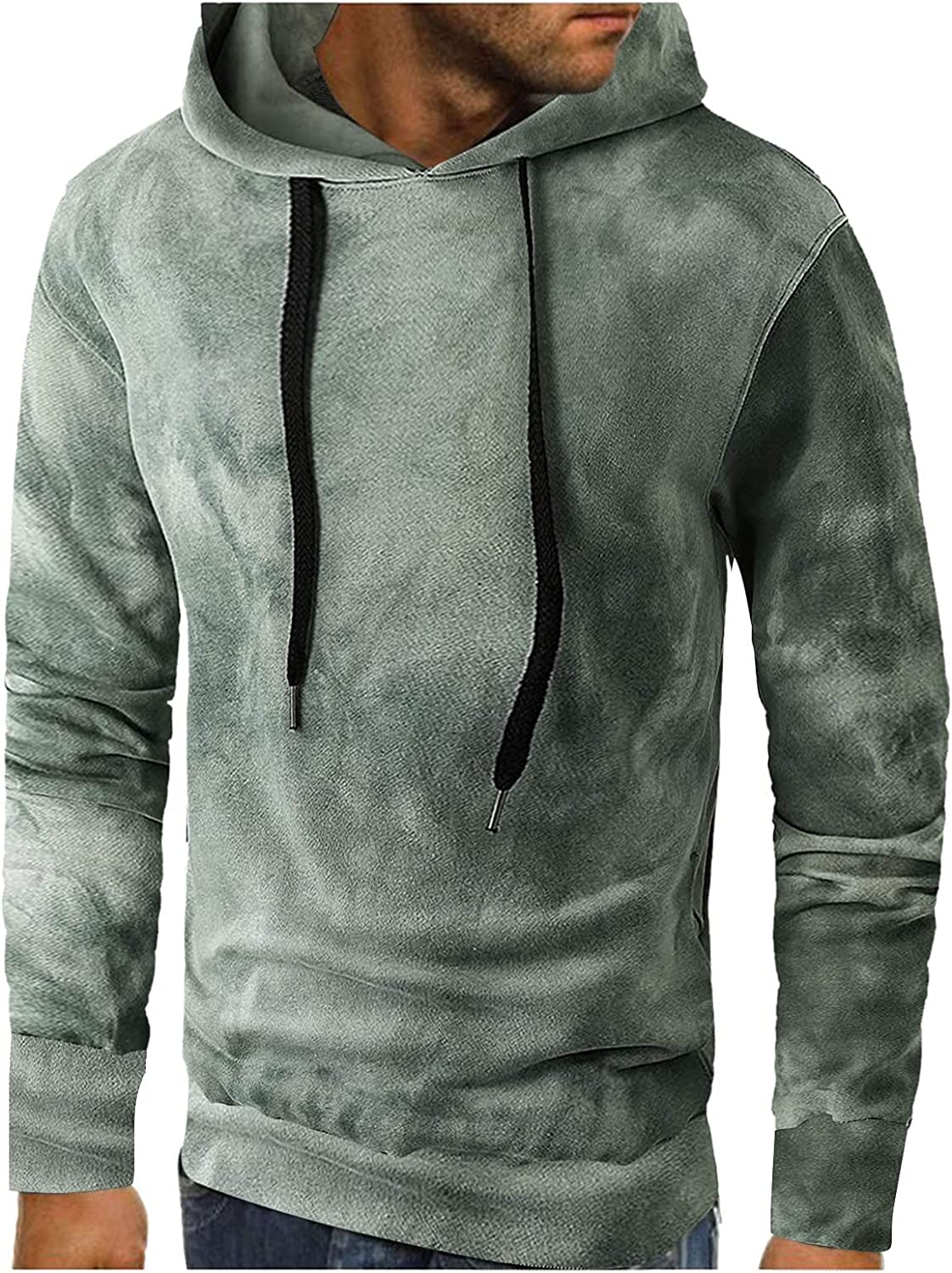 XXBR Tie-dye Hoodies for Mens, Fall Street Style Drawstring Hooded Sweatshirts Slim Fit Sports Workout Casual Pullover