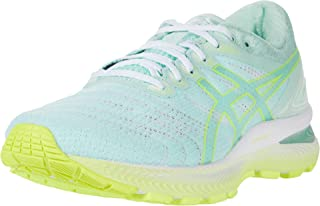Women's Gel-Nimbus 22 Running Shoes, 7.5M, Mint Tint/Safety Yellow