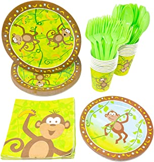 Blue Orchards Monkey Party Supplies Packs (113+ Pieces for 16 Guests!), Jungle Party Tableware, 1st Birthday Supplies, Monkey Baby Shower Decorations