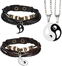 Aroncent Women Men Leather Bracelet Couple Yin Yang Black Brown 2 PCS and 2 Pendant Necklaces for Valentine's Day Anniversary