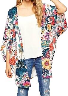 SayahWomen Batwing Sleeve Chiffon Printed Oversize Casual Cardigan Shirt Top