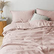 PANDATEX Natural French Linen Duvet Cover Set Washed Organic Flax Breathable Soft Comforter Cover Bedding Set, Pink Queen ...