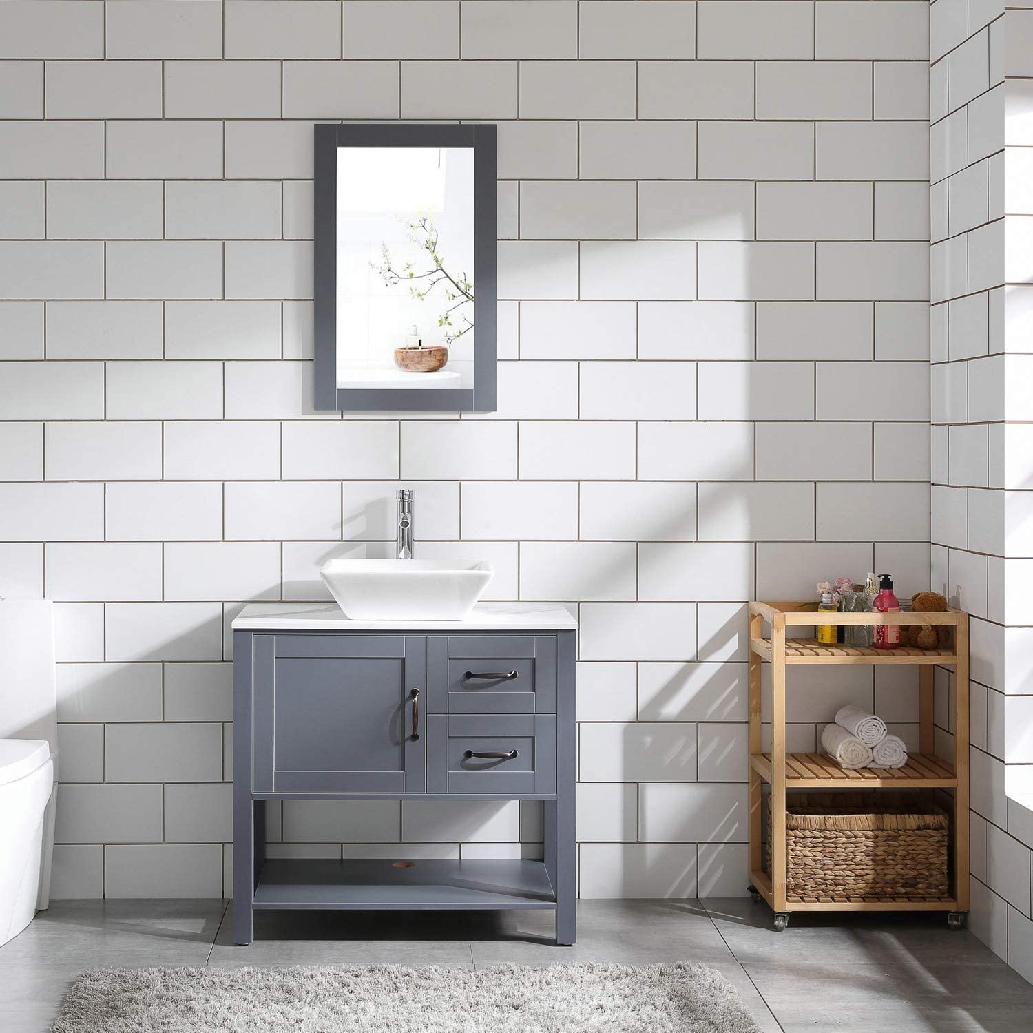 Amazon Com 30 Gray Bathroom Vanity And Sink Combo Marble Pattern Top W Mirror Faucet Drain Tools Home Improvement