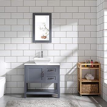 "30"" Grey Bathroom Vanity Sink Combo Marble Pattern Top w/Mirror Faucet&Drain Set"